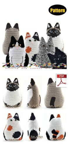 8 Fun Animal Cat Pillow Free Crochet Pattern and Paid - Page 2 of 2 - - The Fun Animal Cat Pillow Free Crochet Pattern has adorable designs, which little ones will love cuddling up with. This would be a wonderful gift for a cat lover. Gato Crochet, Crochet Mignon, Crochet Cat Pattern, Crochet Patterns Amigurumi, Crochet Dolls, Crochet Stitches, Knitting Patterns, Afghan Patterns, Free Knitting