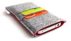 iPhone 5 Sleeve / iPhone 5s/5/5c sleeve Case Cover Wallet Felt/ Samsung S4 sleeve Case/ New iPhone- Minimalist - Light Grey and Red