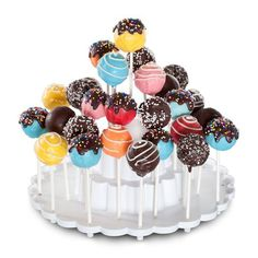 A 3-tier pedestal to display, store and transport up to 37 cake pops with ease! can be used as a stand when decorating cake pops. BPA- and melamine free plastic. Made in USA.