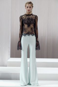 Gorgeous delicate lace of this blouse was even better in person. And those Wes Gordon cut pants makes the legs look mile high! SS13 Look 17