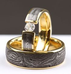 Recycling old guns to make beautiful jewelry, these newwedding bands by Chris Ploof feature vintage shot gun barrel Damascus, combining a