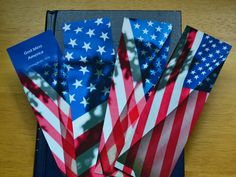 "For the patriots! Set of 4 USA Flag Bookmarks, 2.25""x 7.125"", in clear sleeve, Memorial Day, July 4, veteran gift, citizenship gift, military, patriot gift by JoyfulByNature on Etsy"
