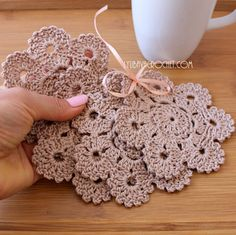 Crochet Coasters Flower Coasters Rustic Home by CrochetedByLyubava