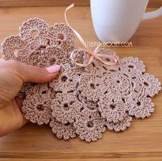 Crochet Coaster PATTERN Crochet Flower Coasters by LyubavaCrochet