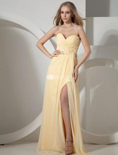 Yellow Strapless Sweetheart Splitting Chiffon Prom Dress. See More Strapless at http://www.ourgreatshop.com/Strapless-C937.aspx