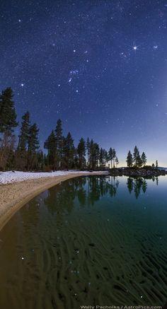"""Stars in the Lake"" by Wally Pacholka (TWAN) Winter at Lake Tahoe"