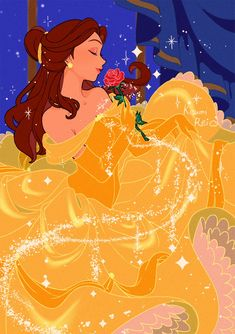 Belle holding her beautiful red rose Princesses Disney Belle, Belle Disney, Disney Princess Art, Disney Fan Art, Disney Love, Princess Belle, Disney Pixar, Disney And Dreamworks, Beauty And The Beast Wallpaper