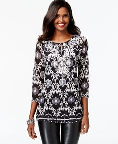 0aa59bf2a78 INC International Concepts Printed Embroidered Tunic & Reviews - Tops -  Women - Macy's