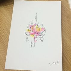 ∥ Lotus Watercolor ∥ 연꽃 수채화타투 도안 ∥           #illust #tattoo #design #wonseok…