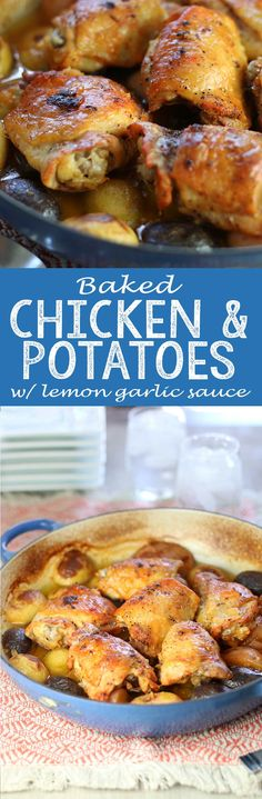 Juicy Baked Chicken & Potatoes in Mouthering Lemon Garlic Sauce - Eazy Peazy…