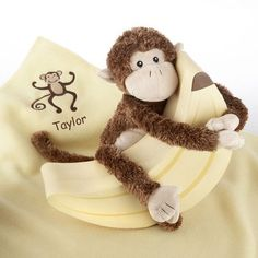 Personalized Monkey Plush and Blanket Gift Set by Beau-coup