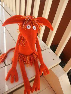Handmade Fiery Goblin Doll   Rust Fleece by psychedelicpanther