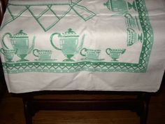 48in x 51in 1940s adorable green coffee pots table cloth