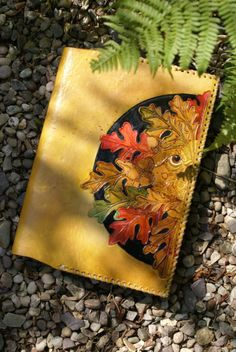 old autumn oak Green Man A5 whip laced journal cover