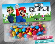 Super Mario Favor Treat Bag Toppers by kidspartydiy on Etsy, $3.99