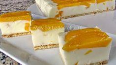 Bez pečenia: Obrátené broskyňovo-jogurtové rezy! Desserts Espagnols, Spanish Desserts, Romanian Desserts, Czech Recipes, Healthy Deserts, Sweet Cakes, Desert Recipes, No Bake Cake, Snacks