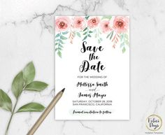 Save the Date Floral Printable DIY editable Save the Date