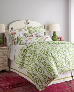 The freshness of the green ikat print on the duvet is really the statement for this room.