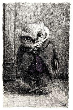 Professor Owl, illustration by Via Fang  #art #illustration #animals #birds #owl