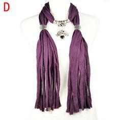 purple ruffle long soft autumn warm shawl flower pendant jewelry scarf NL-1866D #Welldone #Scarf