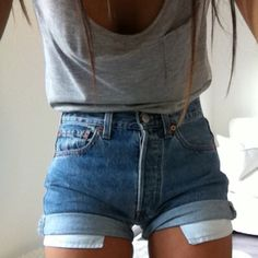 High waisted shorts and gray tank top.. Future outfit^