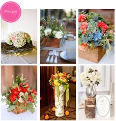 flowers for the table ... with wood containers ...  luv the looks! ...Madera para decorar las mesas de tu boda