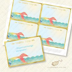 Rainbow Mermaid Thank You Card printable instant by ClickPaperCo