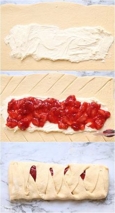 This Strawberry Crescent Braid is delicious and easy to make! I've included a video with step-by-step directions. Delicious Breakfast Recipes, Super Healthy Recipes, Healthy Dessert Recipes, Healthy Foods To Eat, Holiday Desserts, Easy Desserts, Easy To Make Breakfast, Strawberry Plants, Strawberry Recipes