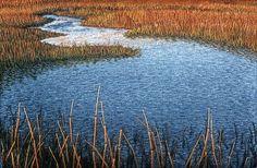 "Edisto Island High Water, 2003, 4""h x 5 3/4""w   Beautiful embroidery art by Linda Behar"