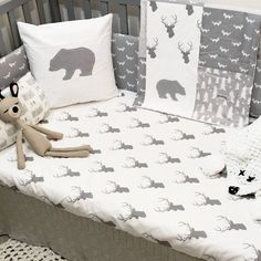 Woodland Crib Bedding Set Customizable by SleepingLakeDesigns