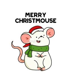 'Merry Christ-mouse Christmas Animal Pun' Sticker by punnybone