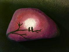 Painted Rock Love Birds