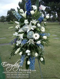 Our Blue Horizon Tribute Photographed at the Graveside Funeral Service. Grave Flowers, Cemetery Flowers, Funeral Flowers, Blue Flower Arrangements, Funeral Floral Arrangements, Funeral Sprays, Cemetery Decorations, Casket Sprays, Memorial Flowers