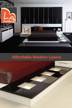 Impera Modern-Contemporary lacquer platform bed with light from LA Furniture. Features : White, Black lacquer high gloss finish modern bed with light. Minimalist Kitchen, Minimalist Interior, Minimalist Living, Minimalist Bedroom, Minimalist Decor, Modern Bedroom, Bedroom Decor, Fall Bedroom, Modern Minimalist