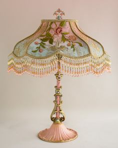 Nightshades -Victorian Rose & Crest Lampshade with Rose Embroidery