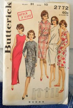 8d684dc2 Butterick 2772 - Easy Sew 1960s Shift Dress Pattern - Sundress, Cocktail  Dress, Evening Gown, Prom, Suitdress - Size 10 (Bust 31) - UNCUT