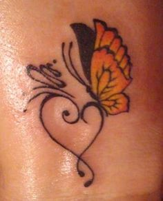 30+ Amazing Heart Tattoo Designs | only make the butterfly pink!