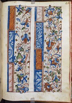 Macclesfield Alphabet, folio with samples of border decoration, England, 1475-1525