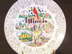 Illinois State Souvenir Collector Plate 22K Warranted Gold Trim Made in USA by GarageSaleGlass, $15.99