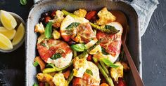 Chicken Saltimbocca Tray Bake - Serve up a hearty family meal in less than 30 minutes, with this Italian-inspired chicken tray bake. One Dish Dinners, One Pot Meals, Main Meals, Midweek Meals, Weeknight Dinners, Quick Meals, Cooking Recipes, Healthy Recipes, Meat Recipes