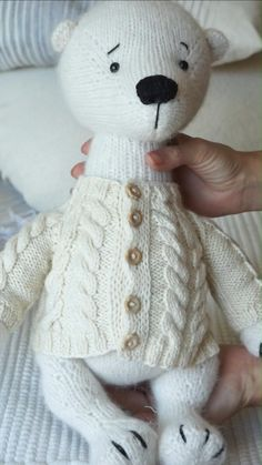 Doll clothes toy knitting pattern PDF - Aran Cardigan Materials Pattern, Photo tutorial, Knitting Instruction  Aran reglan cardigan is the must for every fashionista`s wardrube. It gives cozy feeling to your toy. Thought out to the last detail, looks very nice and real. Makes you feel warmer just by looking at it. Basic Aran Reglan Knitting Pattern by Polushkabunny ♥ Teddy Bear Names, Teddy Bear Toys, Teddy Bears, Baby Knitting Patterns, Amigurumi Patterns, Hand Knitting, Crochet Patterns, Photo Tutorial, Diy Stuffed Animals