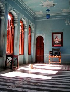 the windows, the light, the paint. love it all  Inside City Palace, Udaipur