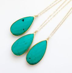 Long Turquoise Necklace  Gold Filled  Gemstone by PinkTwig on Etsy, $49.00