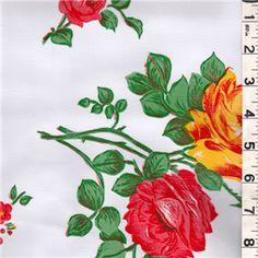 White Floral Oilcloth