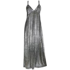 Preowned Paco Rabanne Silver Foil Grid Maxi Dress (€915) ❤ liked on Polyvore featuring dresses, multiple, bodycon dress, paco rabanne, vintage dresses, body con dress and preowned dresses