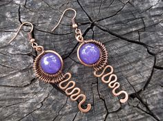 Items similar to Purple copper earrings, Dangle hand forged egyptian earrings, Spiral metal wire wrap women jewelry, Wrapped jewellery, Natural stone Agate on Etsy Wire Necklace, Wire Wrapped Earrings, Copper Earrings, Copper Jewelry, Gemstone Earrings, Wire Jewelry, Dangle Earrings, Jewellery, Beading Jewelry