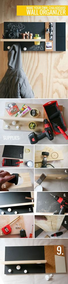 DIY Chalkboard Wall Organizer DIY Chalkboard Wall Organizer - Instead of a plant. - DIY Chalkboard Wall Organizer DIY Chalkboard Wall Organizer – Instead of a plant in the pot, put - Diy Rangement, Diy Chalkboard, Chalkboard Walls, Ideias Diy, Do It Yourself Crafts, Wall Organization, Organisation Ideas, Diy Projects To Try, Diy Wall
