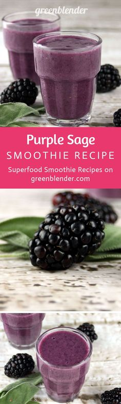 Purple Sage Pineapple Smoothie Recipe by Green Blender: This drink packs a purple punch with unexpected elements! Blackberries and maqui berry powder are an antioxidant-loaded pair. The understated, savory flavor of sage plays off the sweet pineapple and apple. Sage is an outstanding memory enhancer, and contains many detoxifying flavonoids. Brain power-boosting walnuts contain vitamin E, folate, melatonin, omega-3 fats, and antioxidants.