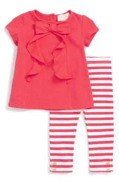 kate spade new york bow tee & leggings set (Baby Girls) (baby girls bows) My Baby Girl, Baby Love, Baby Girls, Girls Bows, Outfits Niños, Kids Outfits, Little Girl Fashion, Kids Fashion, Striped Leggings