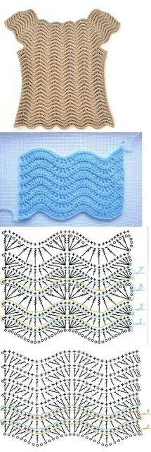Quick Crochet - Flor a crochet Nº paso a paso. - knitting vest , Quick Crochet - Flor a crochet Nº paso a paso. and more :) HÄKELKLEIDUNG. Crochet Ripple, Quick Crochet, Crochet Diagram, Crochet Lace, Crochet Tops, Crochet Stitches Patterns, Crochet Designs, Stitch Patterns, Knitting Patterns